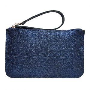 Iridescent Blue Leather Belt Bag