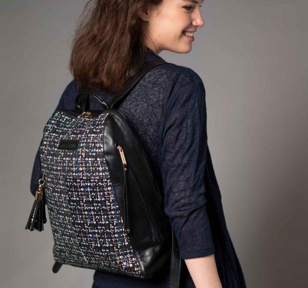 tweed pattern leather backpack